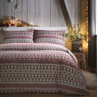 Fusion Fairisle Red Reversible 100% Brushed Cotton Duvet Cover and Pillowcase Set Red, Grey and White