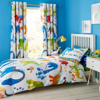 Catherine Lansfield Dino-Saw Easy Care Single Duvet Cover and Pillowcase Set Blue, Red and White