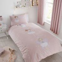 Catherine Lansfield Make A Wish Glow in The Dark Single Duvet Cover and Pillowcase Set Light Pink