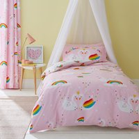Catherine Lansfield Rainbow Swan Easy Care Double Duvet Cover and Pillowcase Set Pink, Red and Yellow