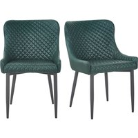 Montreal Set of 2 Dining Chairs Emerald Green PU Leather Emerald Green