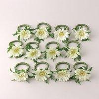 Gerbera Napkin Rings 7cm 12 Pack Off-White