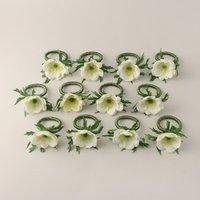 Anemone Napkin Rings 7cm 12 Pack Off-White