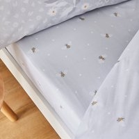 Catherine Lansfield Bee Happy Grey Fitted Sheet Light Grey