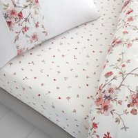 Catherine Lansfield Jasmine Floral Fitted Sheet White and Pink
