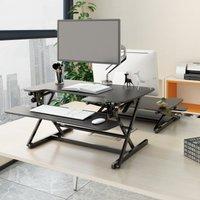 Height Adjustable Desk Riser Black