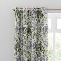 Leaf Jacquard Fern Eyelet Curtains Green/White