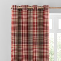 Caldonia Check Red Eyelet Curtains Red