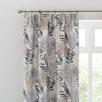 Leaf Jacquard Grey Pencil Pleat Curtains Grey/Yellow