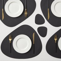 Pack of 2 Black Faux Leather Pebble Placemats Black