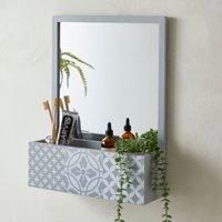 Purity Geo Tile Grey Bathroom Mirror Light Grey