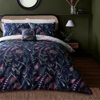 Dorma Winter Garden Navy 100% Cotton Reversible Duvet Cover and Pillowcase Set White