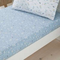 Set of 2 Doodle Dino Blue 100% Cotton Fitted Sheets Light Blue
