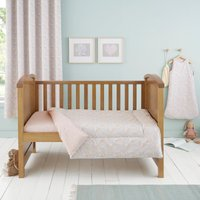 Ditsy Bunny Pink 4 Tog Cot Bed Quilt Light Pink