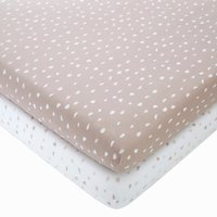 Set of 2 Spotted 100% Cotton Jersey Fitted Sheets Light Pink