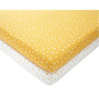 Set of 2 Spotted 100% Cotton Jersey Fitted Sheets Mustard