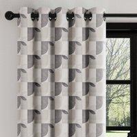 Abstract Geo Grey Eyelet Curtains Grey