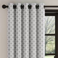 Crosby Charcoal Geometric Eyelet Curtains Charcoal (Grey)