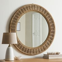Wicker Round Mirror Light Grey
