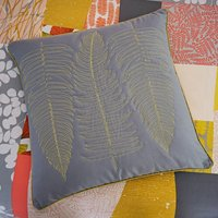 Ginkgo Patchwork Grey and Mustard Cushion Light Grey