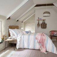 Joules Coastal Striped 100% Cotton Reversible Duvet Cover and Pillowcase Set MultiColoured