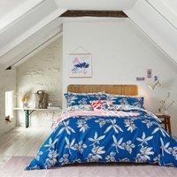 Joules Crayon Floral Blue 100% Cotton Reversible Duvet Cover and Pillowcase Set Dark Blue