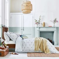 Joules Kelmarsh Bee Grey 100% Cotton Reversible Duvet Cover and Pillowcase Set Light Grey