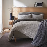 Teddy Bear Feather Soft Marl Reversible Duvet Cover and Pillowcase Set Grey
