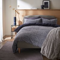 Teddy Bear Feather Soft Marl Reversible Duvet Cover and Pillowcase Set Navy Blue
