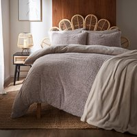 Teddy Bear Feather Soft Marl Reversible Duvet Cover and Pillowcase Set Brown