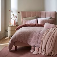 Teddy Bear Feather Soft Marl Reversible Duvet Cover and Pillowcase Set Teddy Feather Blush