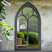 Gothic Black Stone Outdoor Mirror Black