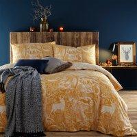 Furn. Winter Woods Ochre Duvet Cover and Pillowcase Set Ochre