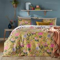 Furn. Azalea Bamboo Floral Reversible Duvet Cover and Pillowcase Set Light Green