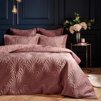 Paoletti Palmeria Blush Embroidered Reversible Duvet Cover and Pillowcase Set Blush (Pink)