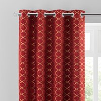 Chenille Ogee Red Eyelet Curtains Deep Red