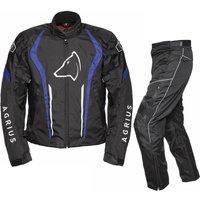 'Agrius Phoenix Motorcycle Jacket & Hydra Trousers Black Blue Black Kit - Long Leg - Uk 38