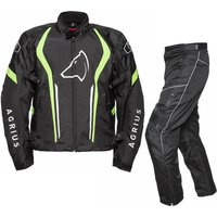 'Agrius Phoenix Motorcycle Jacket & Hydra Trousers Black Hi-vis Black Kit - Long Leg - Uk 38