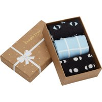 People Tree Organic Cotton Cat Socks Gift Box - 3 Pairs