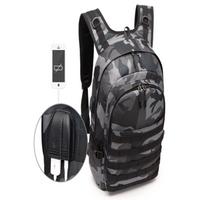 PUBG Backpack Men SchoolBag Battlefield Infantry Pack Camouflage Travel Canvas USB Charging Jack