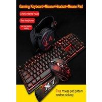 4Pcs LED Backlit GamerMechanical Keyboard+Gaming Mouse+Headset +Mouse Black/Red