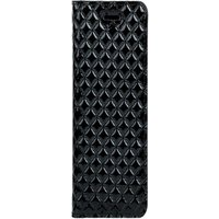 Samsung Galaxy S10e- Surazo® Genuine Leather Smart Magnet RFID- Quilted diamonds - Black Glossy