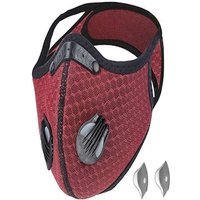 Bundle - 2 items: reusable washable cycling sport shield face mask and activated carbon filters Universal Black/Red Half-Face Robotic
