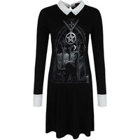 Spiral Women's Witch Nights Peter Pan Collar Baby Doll Dress Black Skinny Fit L (UK 12 to 14)