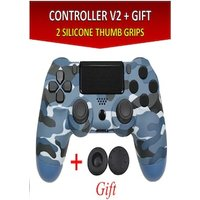 Wireless Controller for all SONY PS4 Consoles with GIFT 2 Thumb Grips for Dualshock 4 V2 Camouflage Blue (PRODUCT)REDTM