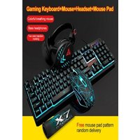 4Pcs LED Backlit GamerMechanical Keyboard+Gaming Mouse+Headset +Mouse Black