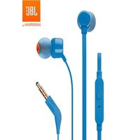 JBL T110 Wired Stereo Earphones With Microphone Blue