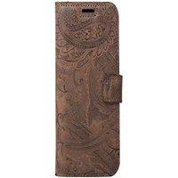 Xiaomi Redmi 6A- Surazo® Phone Case Genuine Leather- Ornament Brown