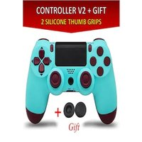 Wireless Controller for all SONY PS4 Consoles with GIFT 2 Thumb Grips for Dualshock 4 V2 Light Blue