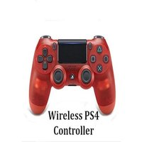 Wirless PS4 Controller for PlayStation Pro Slim and Standard - Red Transparent